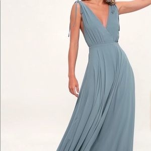 Lulus Dance The Night Away Slate Blue Maxi Dress